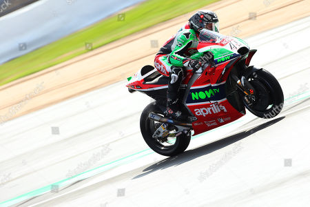 British MotoGP rider Scott Redding of the Aprilia Racing Gresini Team in action, during the MotoGP qualifying session of the 2018 Motorcycling Grand Prix of Britain at the Silverstone race track, Northampton, Britain, 25 August 2018.