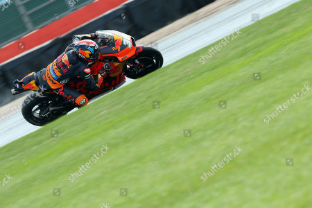 British MotoGP rider Bradley Smith of the Red Bull KTM Factory Racing Team in action, during the MotoGP qualifying session of the 2018 Motorcycling Grand Prix of Britain at the Silverstone race track, Northampton, Britain, 25 August 2018.