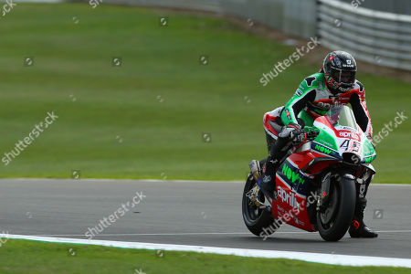 British MotoGP rider Scott Redding of the Aprilia Racing Gresini Team in action, during the MotoGP practice session of the 2018 Motorcycling Grand Prix of Britain at the Silverstone race track, Northampton, Britain, 25 August 2018.