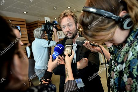 French socialist party (PS) spokesman Boris Vallaud answers journalists questions
