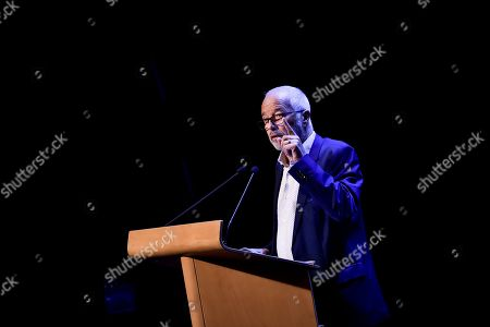 Former french minister and member of socialist party Francois Rebsamen delivers a speech