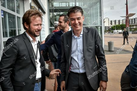 French socialist party (PS) spokesman Boris Vallaud and general secretary of the French socialist party Olivier Faure arrive