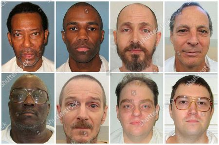 Charles Lee Burton, Demetrius Frazier, Carey Dale Grayson, Gregory Hunt, Robin Myers, David Lee Roberts, Geoffrey West, David Wilson. This combination of photos provided by the Alabama Department of Corrections in August 2018 shows some of the state's death row inmates who are asking to have their executions carried out by nitrogen gas. Top row from left are Charles Lee Burton, Demetrius Frazier, Carey Dale Grayson and Gregory Hunt. Bottom row from left are Robin Myers, David Lee Roberts, Geoffrey West and David Wilson