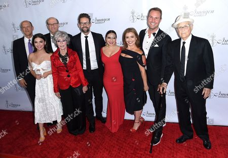 Mike Royce, Isabella Gomez, Stephen Tobolowsky, Rita Moreno, Todd Grinnell, Gloria Calderon Kellett, Brent Miller, Norman Lear. Mike Royce, from left, Isabella Gomez, Stephen Tobolowsky, Rita Moreno, Todd Grinnell, Gloria Calderon Kellett, Brent Miller and Norman Lear arrive at the 33rd annual Imagen Awards, at the JW Marriott L.A. Live in Los Angeles