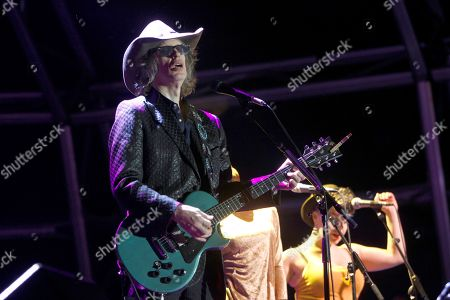 Stock Image of Scottish band The Waterboys's leader Mike Scott (L) performs at Plaza de Espana square in the city of Ferrol, northwestern Spain, late 25 August 2018 (issued on 26 August 2018).