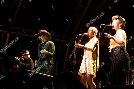 Scottish band The Waterboys's leader Mike Scott (2-L) performs at Plaza de Espana square in the city of Ferrol, northwestern Spain, late 25 August 2018 (issued on 26 August 2018).
