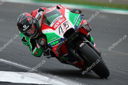 British MotoGP rider Scott Redding of the Aprilia Racing Gresini Team in action during the MotoGP morning warm up of the 2018 Motorcycling Grand Prix of Britain at the Silverstone race track, Northampton, Britain, 26 August 2018.