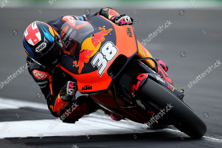 British MotoGP rider Bradley Smith of the Red Bull KTM Factory Racing Team in action during the MotoGP morning warm up of the 2018 Motorcycling Grand Prix of Britain at the Silverstone race track, Northampton, Britain, 26 August 2018.