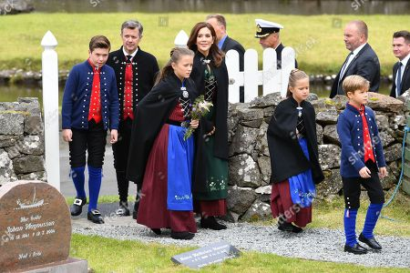 Crown Princess Mary, Crown Prince Frederik, Prince Christian, Prince Vincent, Princess Isabelle and Princess Josephine attend church in Sandavágur.