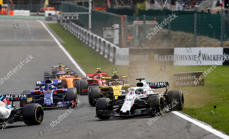Motorsports: FIA Formula One World Championship 2018, Grand Prix of Belgium,  #11 Sergio Perez (MEX, Racing Point Force India F1 Team), #18 Lance Stroll (CAN, Williams Martini Racing),