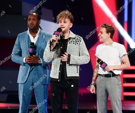 Tyrone Edwards, Francesco Yate, Scott Helman. Tyrone Edwards, Francesco Yates and Scott Helman speak at the iHeartRadio MuchMusic Video Awards, in Toronto