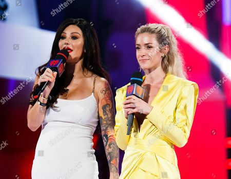 From left, Jenni 'JWOWW' Farley and Kristin Cavallari speak at the 2018 iHeartRadio MuchMusic Video Awards, in Toronto