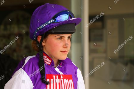 GEORGIA KING before winning on her first ride on Sula Island in The Pertemps Champions Willberry Charity Derby at Epsom