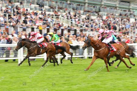 CARLTON FRANKIE (5) ridden by James Sullivan beating Bahamian Sunrise in The China Southern Airlines Handicap Stakes at Epsom
