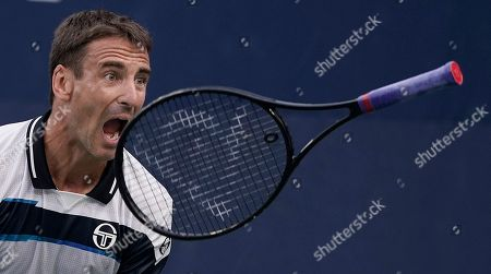 Tommy Robredo of Spain reacts as he plays Stefanos Tsitsipas of Greece during the first day of the US Open Tennis Championships the USTA National Tennis Center in Flushing Meadows, New York, USA, 27 August 2018. The US Open runs from 27 August through 09 September.
