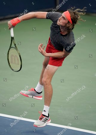 Stefanos Tsitsipas of Greece serves to Tommy Robredo of Spain during the first day of the US Open Tennis Championships the USTA National Tennis Center in Flushing Meadows, New York, USA, 27 August 2018. The US Open runs from 27 August through 09 September.