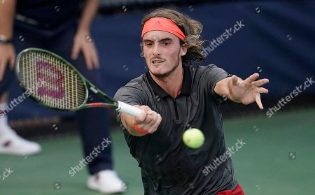 Stefanos Tsitsipas of Greece hits a return to Tommy Robredo of Spain during the first day of the US Open Tennis Championships the USTA National Tennis Center in Flushing Meadows, New York, USA, 27 August 2018. The US Open runs from 27 August through 09 September.