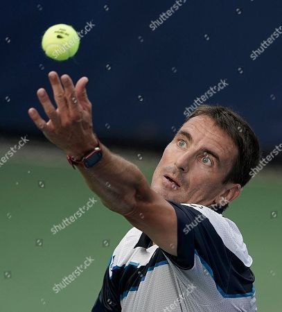 Tommy Robredo of Spain serves to Stefanos Tsitsipas of Greece during the first day of the US Open Tennis Championships the USTA National Tennis Center in Flushing Meadows, New York, USA, 27 August 2018. The US Open runs from 27 August through 09 September.