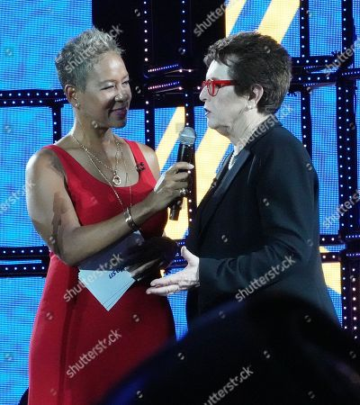 USTA President Katrina Adams (L) and US tennis legend Billie Jean King during the opening night ceremony on the first day of the US Open Tennis Championships the USTA National Tennis Center in Flushing Meadows, New York, USA, 27 August 2018. The US Open runs from 27 August through 09 September.