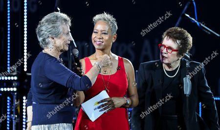 Virginia Wade, Katrina Adams President of USTA and Billie Jean King at the Opening Ceremony