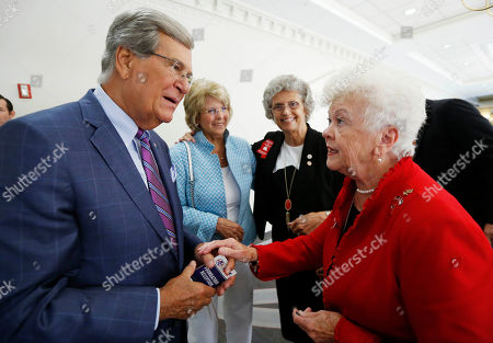 Stock Photo of Trent Lott. Sandra McKiernon, Patricia Lott, Dailey Vivian. Dailey Vivian, president of the Mississippi Republican Women, right, thanks former Senate Majority Leader Trent Lott, left, for his fond recollections on a national radio program, about the late U.S. Sen. John McCain, R-Ariz., prior to attending a reception for House Majority Whip U.S. Rep. Steve Scalise, R-La., in Jackson, Miss., . Also attending the reception were, second from left, Patricia Lott, his wife and Sandra McKiernon, also an officer of the Mississippi Republican Women. Lott remembered McCain's strong friendship, straightforward approach and his consideration of issues, as well as his strong support and stands