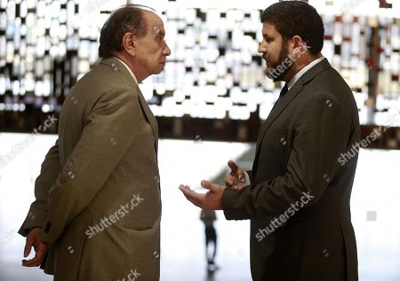 David Smolansky (R), former mayor El Hatillo in Venezuela), speaks with Brazilian Foreign Minister Aloysio Nunes (L) in Brasilia, Brazil, 27 August 2018. Smolansky told Nunes that Latin America should declare a 'regional migration crisis'. The UN says some 2.3 million Venezuelans have fled their country since the economic crisis broke out. Smolansky was dismissed in 2017 and sentenced to prison for his support of the protests against Maduro