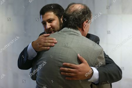 David Smolansky (L), former mayor El Hatillo in Venezuela), arrives for a meeting with Brazilian Foreign Minister Aloysio Nunes (R) Brasilia, Brazil, 27 August 2018. Smolansky told Nunes that Latin America should declare a 'regional migration crisis'. The UN says some 2.3 million Venezuelans have fled their country since the economic crisis broke out. Smolansky was dismissed in 2017 and sentenced to prison for his support of the protests against Maduro