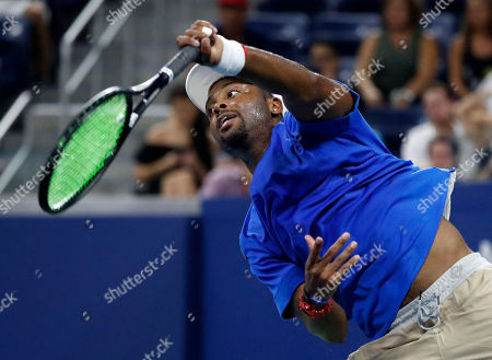 Donald Young of the US serves to Juan Martin del Potro of Argentina on the first day of the US Open Tennis Championships the USTA National Tennis Center in Flushing Meadows, New York, USA, 27 August 2018. The US Open runs from 27 August through 09 September.