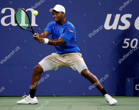 Donald Young of the US hits a return to Juan Martin del Potro of Argentina on the first day of the US Open Tennis Championships the USTA National Tennis Center in Flushing Meadows, New York, USA, 27 August 2018. The US Open runs from 27 August through 09 September.