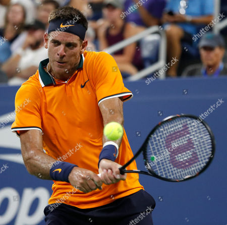 Juan Martin del Potro of Argentina hits a return to Donald Young of the US on the first day of the US Open Tennis Championships the USTA National Tennis Center in Flushing Meadows, New York, USA, 27 August 2018. The US Open runs from 27 August through 09 September.