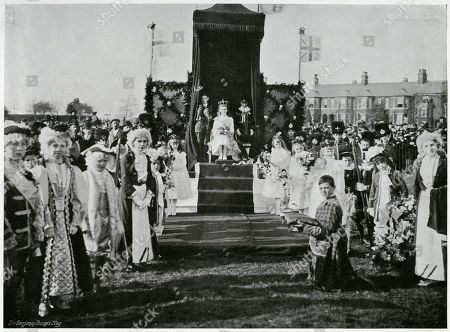 Enormous Crowd of Spectators Watch As the Coronation of the to Be 'Queen of the May' Takes Place with Elaborate Ceremonial. Photograph by Benjamin Stone in 'Sir Benjamin Stone's Pictures', Page 9