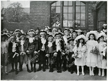 May Day Festival in Knutsford Cheshire Town Taking Place Every Year Were Children Dress-up in Costumes Shepherdesses Milkmaids and Folkloric Figures Like Robin Hood Little John and Maid Marion. to Celebrate the Event the Crowning of the Years 'May Day Queen' Pageant with Garland of Flowers at the Maypole. Photograph by Benjamin Stone in 'Sir Benjamin Stone's Pictures', Page 7