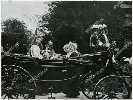 Formerly the Queen Was Always A Scholar at the Parish School and Chosen by the Committee Photograph Showing the Start of the Procession at the Town Hall in Knutsford Cheshire with Bands Playing and Banners Flying the to Be Crowned 'Queen of the May' and Attendants in the Carriage Waiting to Start. Photograph by Benjamin Stone in 'Sir Benjamin Stone's Pictures', Page 8