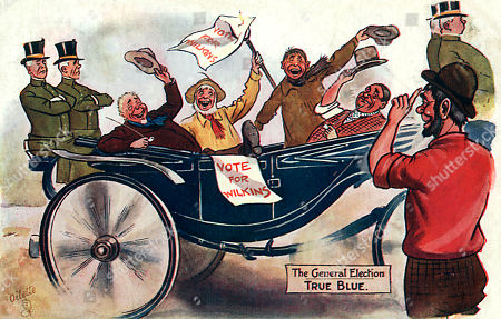 The General Election - Comic Postcard Showing the Delight Amid the Working Class at the Landslide Defeat For the Conservative Party and Their Liberal Unionist Allies the Primary Reason Given by Historians As the Party's Weakness After Its Split Over the Issue of Free Trade (joseph Chamberlain Had Resigned From Government in September 1903 in Order to Campaign For Tariff Reform Which Would Allow 'Preferential Tariffs'). Many Working-class People Saw This As A Threat to the Price of Food Hence the Debate Was Nicknamed 'Big Loaf Little Loaf'. Raphael Tuck 'Oilette' Postcard - 'The General Election' Series