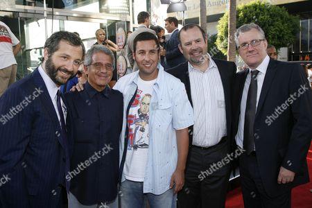 Judd Apatow, Universal's Ron Meyer, Adam Sandler, Universal's Marc Shmuger and David Linde