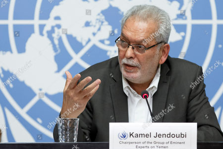 Kamel Jendoubi, Chairperson of the Group of Eminent Experts on Yemen, informs to the media on the publication of its report on the establishment of facts and circumstances surrounding alleged violations and abuses committed by all parties to the conflict in Yemen, during a press conference, at the European headquarters of the United Nations in Geneva,, Switzerland, 28 August 2018.