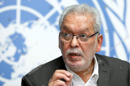 Stock Picture of Kamel Jendoubi, Chairperson of the Group of Eminent Experts on Yemen, informs to the media on the publication of its report on the establishment of facts and circumstances surrounding alleged violations and abuses committed by all parties to the conflict in Yemen, during a press conference, at the European headquarters of the United Nations in Geneva,, Switzerland, 28 August 2018.