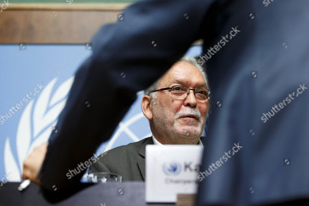 Stock Photo of Kamel Jendoubi, Chairperson of the Group of Eminent Experts on Yemen, speaks to reporters after a press conference on the publication of its report on the establishment of facts and circumstances surrounding alleged violations and abuses committed by all parties to the conflict in Yemen, at the European headquarters of the United Nations in Geneva, Switzerland, 28 August 2018.