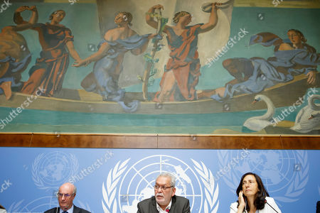 Kamel Jendoubi, (C), Chairperson of the Group of Eminent Experts on Yemen, sitting next to Charles Garraway, (L), member of the Group of Eminent Experts on Yemen, and Alessandra Vellucci, (R), Director of UN Information Service to Geneva, inform the media on the publication of its report on the establishment of facts and circumstances surrounding alleged violations and abuses committed by all parties to the conflict in Yemen, during a press conference, at the European headquarters of the United Nations in Geneva,, Switzerland, 28 August 2018.