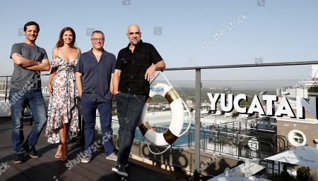 Film director Daniel Monson (2-R) and actors Rodrigo de la Serna (L), Luis Tosar (R) and Stephanie Cayo (2-L) pose during the presentation of the film 'Yucatan' in Madrid, Spain, 28 August 2018. The film is a comedy.