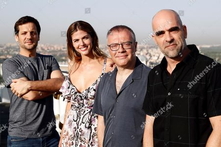 Stock Picture of Film director Daniel Monson (2-R) and actors Rodrigo de la Serna (L), Luis Tosar (R) and Stephanie Cayo (2-L) pose during the presentation of the film 'Yucatan' in Madrid, Spain, 28 August 2018. The film is a comedy.
