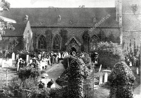 Photograph of the Funeral of Robert Arthur Talbot Gascoyne Cecil (1830-1903) 3rd Marquis of Salisbury English Conservative Statesman at the Church of St. Etheldreda Hatfield 31st August 1903. On the Death of Disraeli in 1881 Salisbury Had Become Leader of the Conservative Party and Was British Prime Minister Several Times in the 1880's and 90's. Illustrated London News. 1903. Bottom of Page 333.