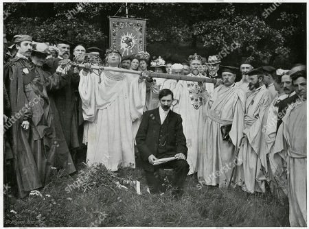 'Is It Peace?' Ceremony of the Sword A Remarkable Impressive Observance. A Huge Sword is Upraised and Partly Unsheathed. the Attendants Bards Having Just Placed Hands On It the Arch Druid Partly Supports It Cries: 'A Oes Heddwch?' ('is It Peace?') From the People Comes the Loud Response 'Heddwch' (it is Peace?') This is Repeated the Sword is Then Thrust Back Into Its Scabbard the Ceremony Symbolises A Truce and Has Come Down From Acient Times When It Was Necessary to Guard Against the Breaking of Bardic Circle by Armed Men. Photograph by Benjamin Stone in 'Sir Benjamin Stone's Pictures', Page 27
