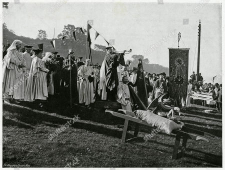 'Opening of Gorsedd' Ceremony in Which Druids Are in A Circle the Gorsedd (meaning Chief) Sit On A Throne where the Eisteddfod is Proclaimed. Photograph by Benjamin Stone in 'Sir Benjamin Stone's Pictures', Page 26