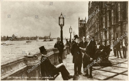 The Terrace - Palace of Westminster - Painting by Emily Maria Eardley Childers (1866–1922) Known As Milly Childers. (from Left): William Harcourt James Keir Hardie Benjamin Stone Edward Grey David Erskine with Lord Lansdowne Seated Behind Them. Reproduction of A Painting by Milly Childers (1866-1922) Reproduced On A Postcard