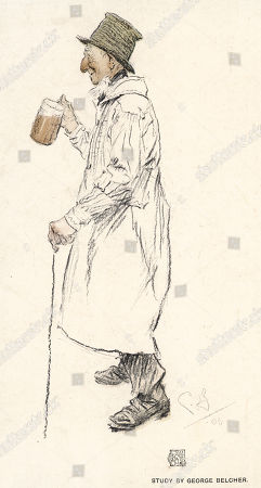 An Ancient English Countryman Wearing A White Smock Frock - Useful For Keeping His Clothes Clean When Working in the Fields. . Illustration by George Belcher