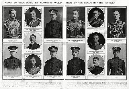 Editorial image of Peers of the Realm Who Had Joined Up, Ww1, 1914