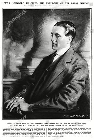 Stock Photo of The Right Hon F E Smith Mp Appointed War Censor in Chief President of the Newly Formed Government Press Bureau On the Outbreak of the First World War. . Reproduction of A Portrait by A Chevallier Tayler, 1912, in the Illustrated London News,15 August 1914, P255