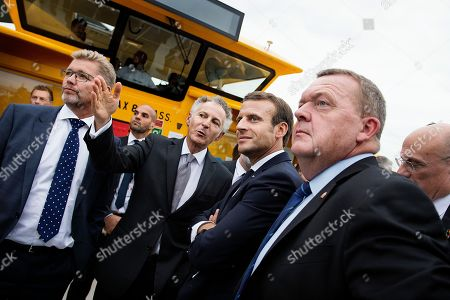 (L-R) Mayor Frank Jensen, French Ambassador Francois Zimeray, French President Emmanuel Macron and Prime Minister Lars Loekke Rasmussen on a cruise in Copenhagen Harbor in connection with the French President's official visit to Copenhagen, Denmark, 28 August 2018. The French President and his wife are on a two-day state visit to Denmark.