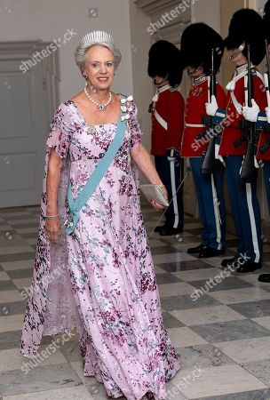 Princess Benedikte arrives at the State Banquet at Christiansborg Castle in connection with the French President is on official state visit in Copenhagen, Denmark, 28 August 2018. The French President and his wife are on a two-day state visit to Denmark.